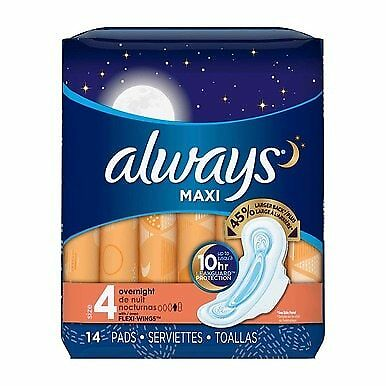 Always Maxi Overnight Pads, Size 4 Overnight, with Flexi-Wings, Unscented, 14 Ct