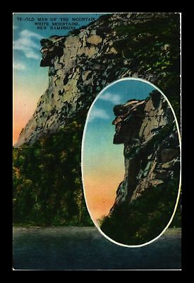 Dr Jim Stamps Us Old Man Of The Mountain New Hampshire Linen View Postcard