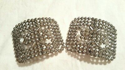 Antique France cut steel faceted silver shoe buckles - 1 pair