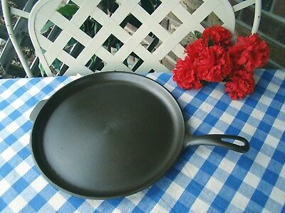 """Unmarked Wagner Cast Iron Skillet Griddle – 11 ¼"""" – Near Mint – Griswold Ghost"""