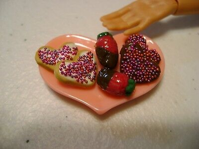 Barbie Dollhouse Food Valentine Cookies & Chocolate dipped strawberries, Heart