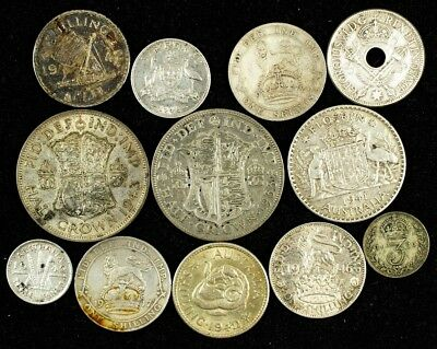 Lot of 12 Great Britain & British Commonwealth Silver Coins