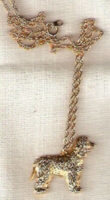 """Irish Water Spaniel Gold Plated Necklace Pendant with 20"""" chain Jewelry"""