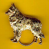 Belgian Shepherd Sheepdog Gold Plated Eyeglass Holder Pin Jewelry