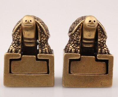 2 Unique China Bronze Statue Seal Animal Tortoise Mascot Collection Old