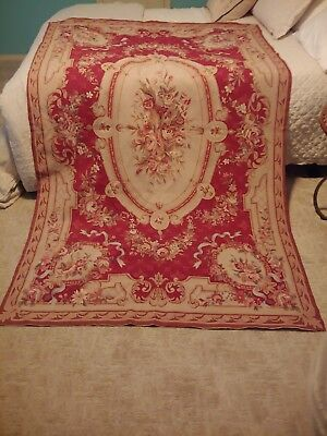 """Vintage Hand Made French Aubusson Needlepoint Rug 8'2"""" x 4'9"""" Red and Gold"""