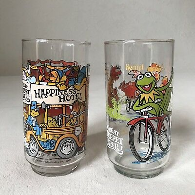 Mcdonalds Collectible Glasses The Great Muppet Caper 1981 Lot Of 2 MINT