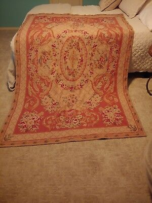 Vintage French Aubusson Rug 5'2 x 7'9 Floral design, Red and Gold