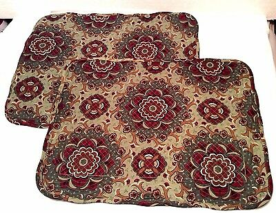 2 Quilted Placemats AUTUMN ROADS Longaberger Burgundy & Sage New in Bag