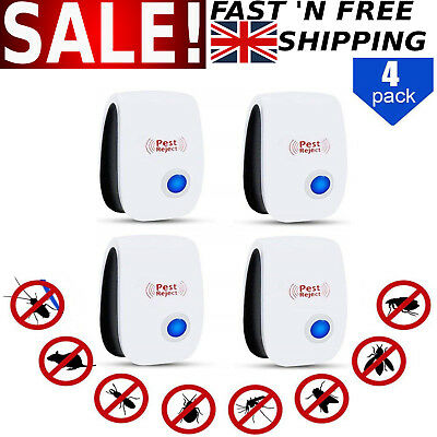 4 Pack Ultrasonic Pest Repeller Control Electronic Repellent Mice Rat Reject UK