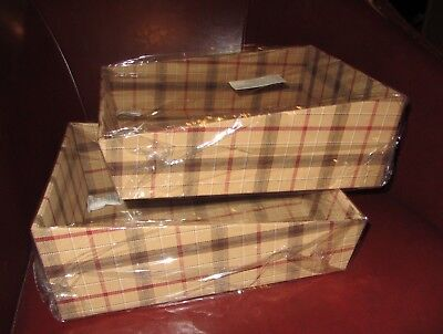 2 Longaberger Signature Plaid Fabric Covered Tapered Paper Tray Containers  NIB