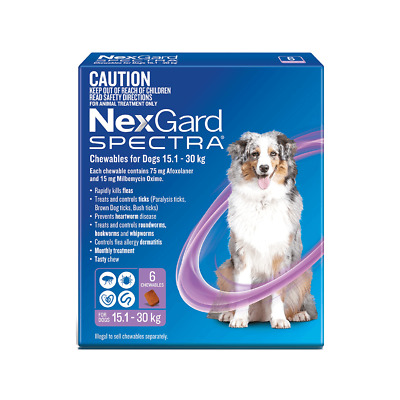 Nexgard Spectra Purple for Large Dogs 15.1-30kg 6 Pack - Brand New
