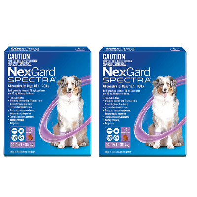Nexgard Spectra Purple for Large Dogs 15.1-30kg 12 Pack - Brand New