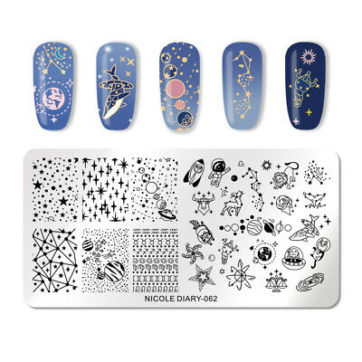 NICOLE DIARY Nail Stamping Plates Star Moon Rectangle Stamp Image Stencils 062
