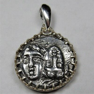 Authentic Ancient Greek Silver Coin Sterling Silver Pendant Setting Gemini #271