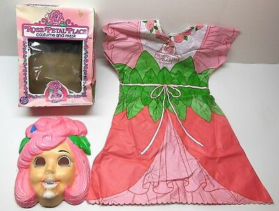 Vintage 80's Ben Cooper HALLOWEEN Costume Rose Petal Place Small 4-6 W/ Mask Box