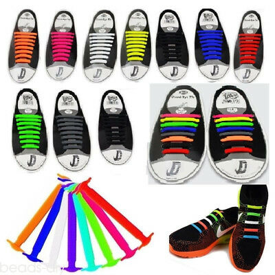 Colorful No Tie Elastic Shoe Laces Silicone Trainers Adult Shoelaces