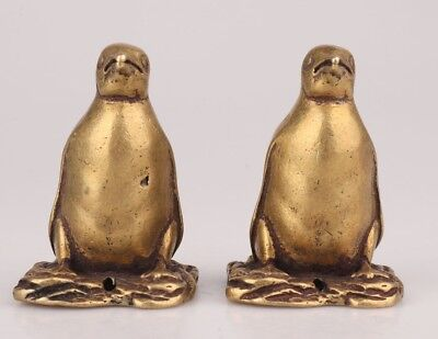 2 Retro ChinA Bronze Statue Figurine Animal Penguin Mascot Decorate Solid Gift