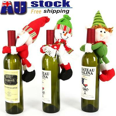 Christmas Beer Bottle Red Wine Snowman Pattern Party Dinner Table Bag Decor AU