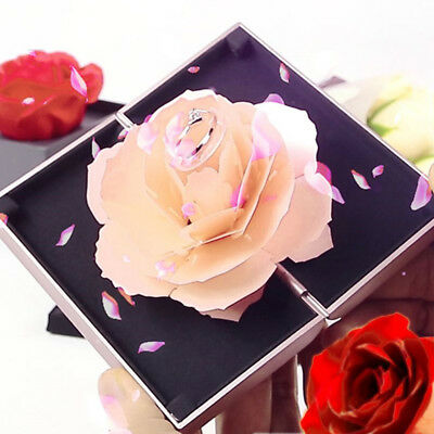 New Pop-up Rose Wedding Engagement Rings Box Surprise Jewelry Storage Holder