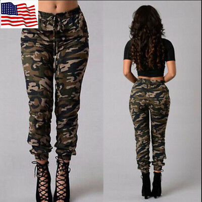US Womens Camo Trousers Casual Hip-hop Military Army Combat Camouflage Pants