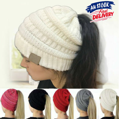 Stretchy Skull Tail Women Crochet Knitted Ponytail Beanie Bun Cap Messy Hat Soft