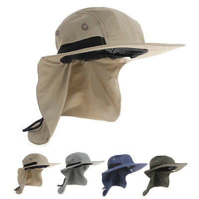 Boonie Hat Fishing Boating Hiking Snap Brim Ear Neck Cover Bucket Sun Flap Cap