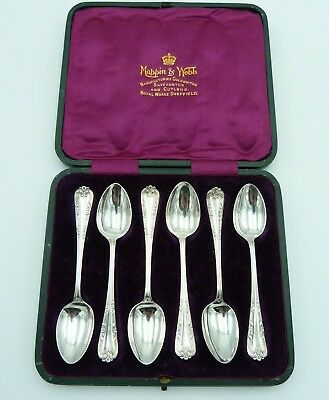 6 Smashing Silver Tea Spoons 1908 Mappin Webb Crown Jeweller Cased Set Six