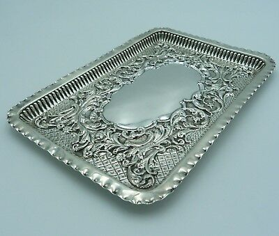 Embossed Silver Dressing Table Tray Chester 1904 Jay Attenborough Oxford Street