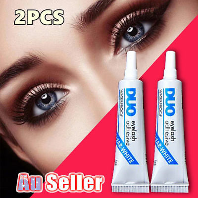 2PCS White Waterproof False Eyelashes Clear Makeup DUO Adhesive Eye Lash Lash