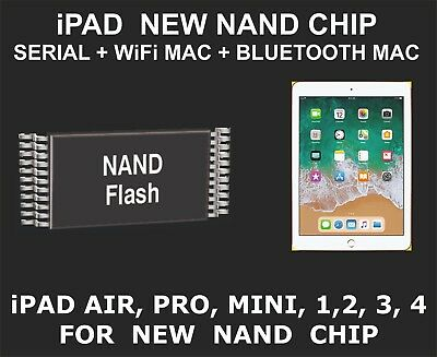 New Nand Chip Data, Serial Number, WiFi Mac, Bluetooth Mac, iPad Pro, Air, Mini