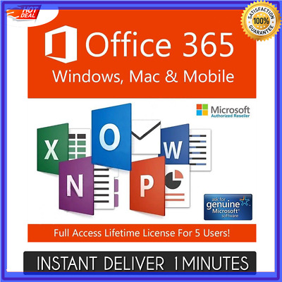 Microsoft Office 365 Pro 2016 2019 - 5 PC/Mac 5TB Lifetime INSTANT DELIVERY