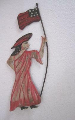 Vintage Old Iron Weather Vane Lady With American Flag Embossed .