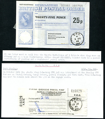 FALKLAND ISLANDS: (20325) PARCEL POST and POSTAL ORDER/FPO postmark