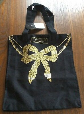 Marc Jacobs Fragrances Black Tote Bag   Sac Cabas With Gold Bow Design Bnwt. 914a9bfdf6ec