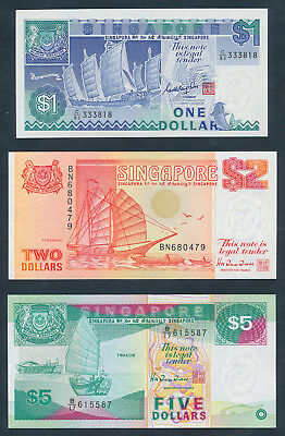"""Singapore: 1987-97 $1, $2 & $5 Ships - $1 WITH LUCKY NO.""""333"""". P18a, 27 & 29 UNC"""