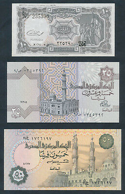 "Egypt: 1979-91 ""COLLECTION OF 5 DIFFERENT NOTES"" incl Ancient Treasures. All UNC"