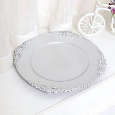 24 x Silver Vintage Charger Plate 33cm French Style