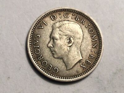 GREAT BRITAIN 1941 three pence small silver coin nice condition