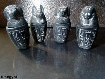 RARE ANCIENT EGYPTIAN ANTIQUE 4 Canopic Jars Statues 1496-1221 BC