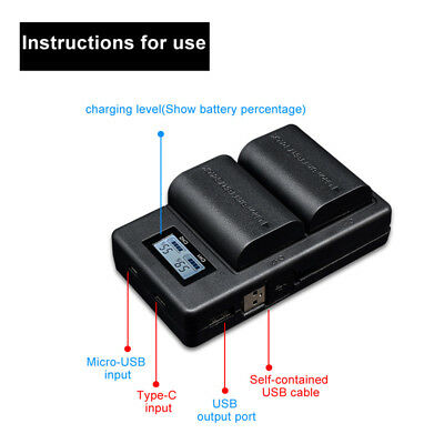 Battery Charger Spare LP-E6 Camera DSLR LCD display For Canon EOS 5DS R 6D/7D