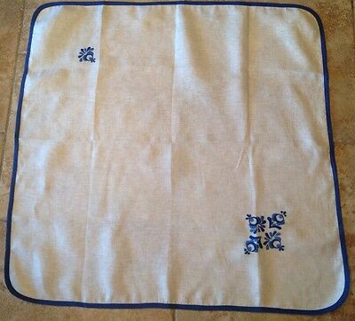 Vintage Small Tablecloth, Linen-Cotton, Ivory, Medium Blue Scroll Embroidery