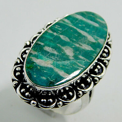 Natural Amazonite Stone Sterling Silver Antique Handmade Jewelry Ring UK Size-Q