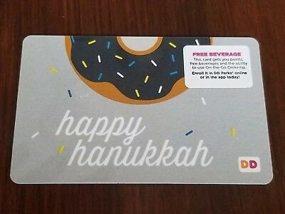 Dunkin Donuts DD gift card no value collectors item HAPPY HANUKKAH with donut