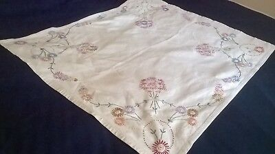 Vintage Hand Embroidered Table Cloth Bold Floral Design