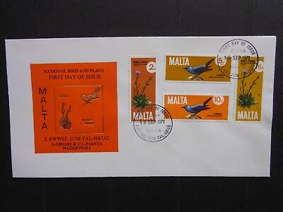 MALTA: Pictorial First Day Cover: 1971 National Bird & Plant 4vals (Sg456/459)