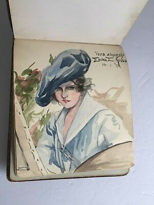 Antique AVERY HILL COLLEGE Grace Ethel Lord  AUTOGRAPH Book with Sketches c1908