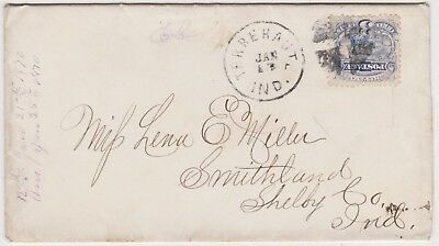 1870 TERRE HAUTE IN COVER w/ #114 3c LOCOMOTIVE - w/ LETTER - TO SMITHLAND IND