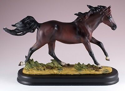 """Bay Brown Horse Figurine Statue Resin 9.5"""" Long - Highly Detailed - New In Box!"""