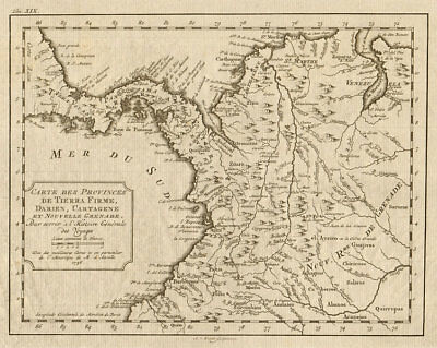 'Tierra-Firme, Darien, Cartagene…' Panama Colombia. BELLIN/SCHLEY 1772 old map